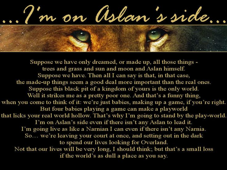 aslans speech This is characteristic of aslan's speech: the musicality, the commands, the use of the verb to be, the rhetorical use of repetition, the sense of living nature, the unadorned spareness, the power of naming, and the primacy of love.