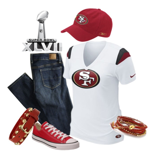 """Superbowl XLVII Outfit - Go 49'ers!"" by trinavokes on Polyvore"