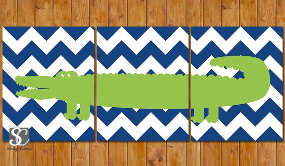 Alligator Nursery Decor Wall Art Navy Blue Chevron Lime Green Crocodile Set of 3 8x10 DIY Printable Instant Download (103)