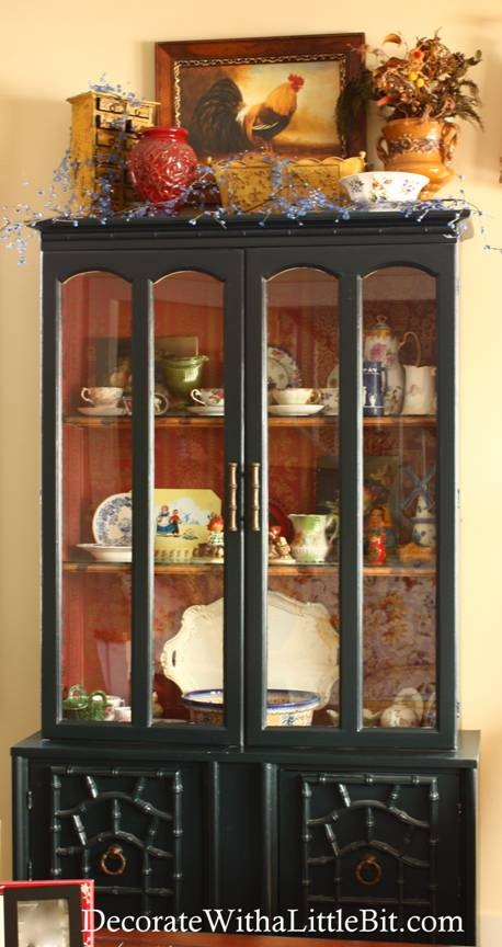 Black Cabinet With Wallpaper Inside Dinning Room Decorating A Hutch China Decor Kitchen Cabinets