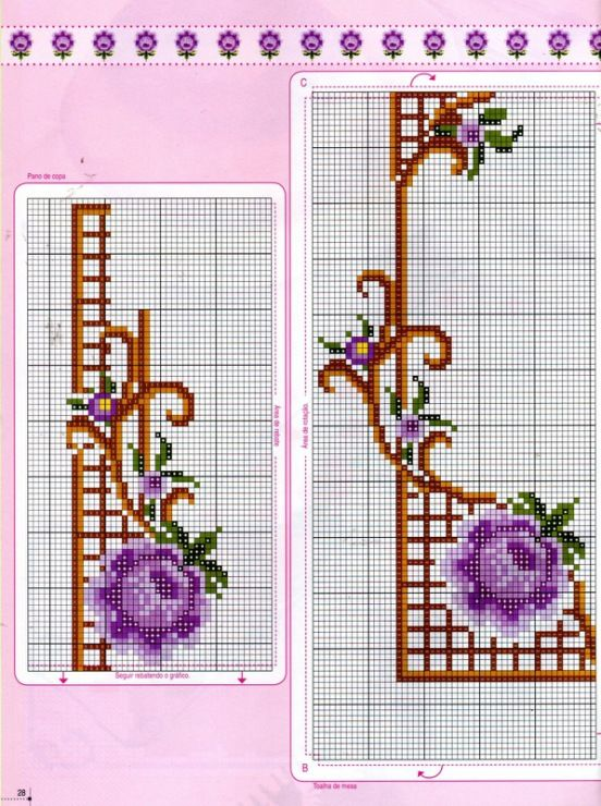 Cross-stitch Floral Edging ... no color chart available, just use the pattern chart as your color guide..    Gallery.ru / Фото #26 - 30 - logopedd