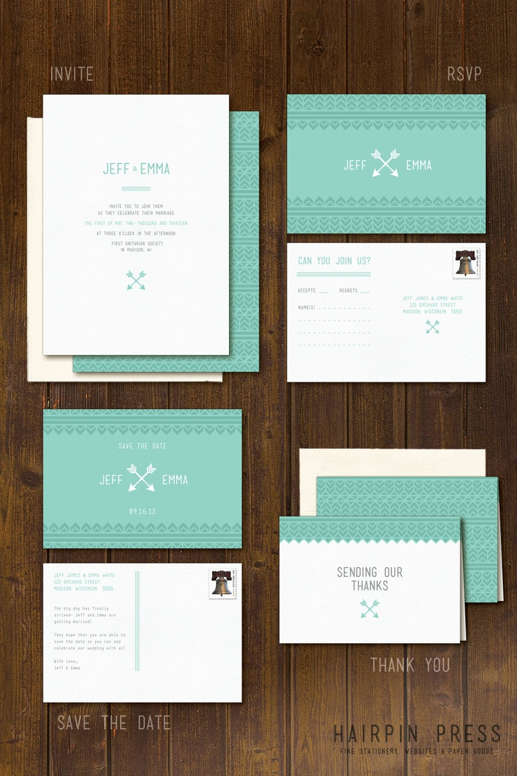 Arrow Wedding - Hipster. Indie. Modern. Simple. Chevron. Southwest. Tribal Pattern - Invite. Invitation. RSVP. Save the Date. Thank You. $2.00, via Etsy.
