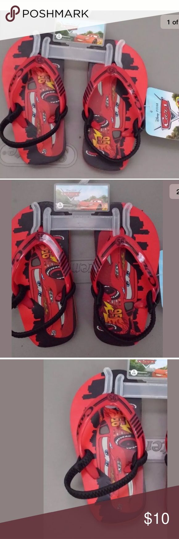 Cars  Flip Flops Sandals Toddler Boys S 5/6 Disney Cars  Flip Flops Sandals Toddler Boys S 5/6  Disney Red  BOYS FLIP FLOP SANDALS WITH ELASTIC STRAP   NON-SKID SOLES SIZE SMALL  (5-6) ALL MAN-MADE MATERIALS BRAND NEW WITH TAGS  Smoke and pets free home Disney Shoes Sandals & Flip Flops