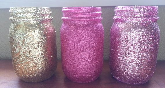 Glittered Mason Jars Pink Glitter Gold Glitter by Jones4Blush, $6.50