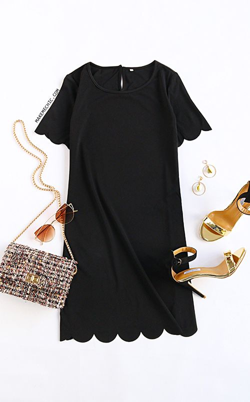 Black Scalloped Hem Keyhole Dress