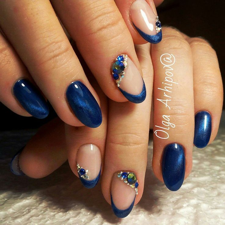 Blue cat eye nails, Blue French manicure, Cat eye french nails, Cat eye nails, Cat eye nails by shellac, Cat eye nails with rhinestones, Cat eye short nails, Evening nails