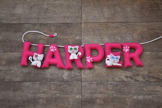 Felt name banner, White Cat nursery decor, personalized gift, baby felt letter, child room, baby name garland, custom felt name, custom made