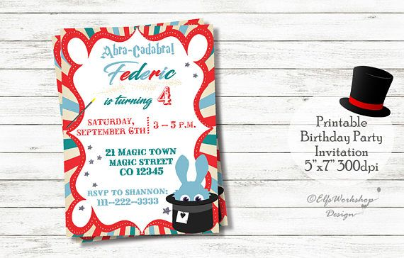 Check out this item in my Etsy shop https://www.etsy.com/listing/514786582/magic-party-invitation-magician-birthday