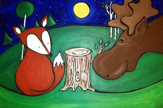 """Awww! This sweet little #fox and his buddy the #moose are the best of friends. They even look like they snuck out for a late night chit chat!  I created this piece as a large #painting for my brand new #baby's #nursery. Now, I am sharing it with you for yours! This is 9x12"""", but looks great in a larger frame with an 8x10 matte.   $25 - www.patrickguindonart.etsy.com"""