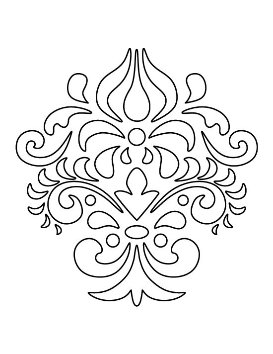 damask pattern  use the printable outline for crafts
