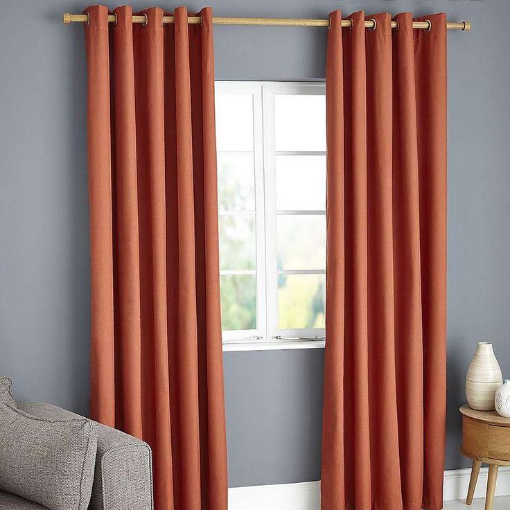 Payson Orange Blackout Eyelet Curtains   Dunelm