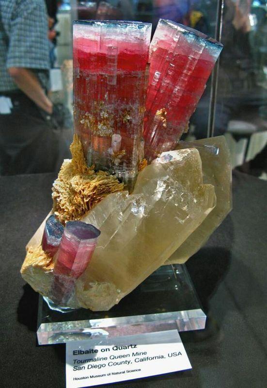 Elbaite (Tourmaline) on quartz, San Diego, Calif.