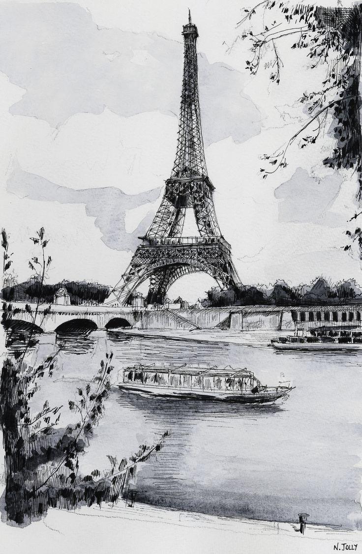 Watercolor / Aquarelle – La Seine et la Tour Eiffel