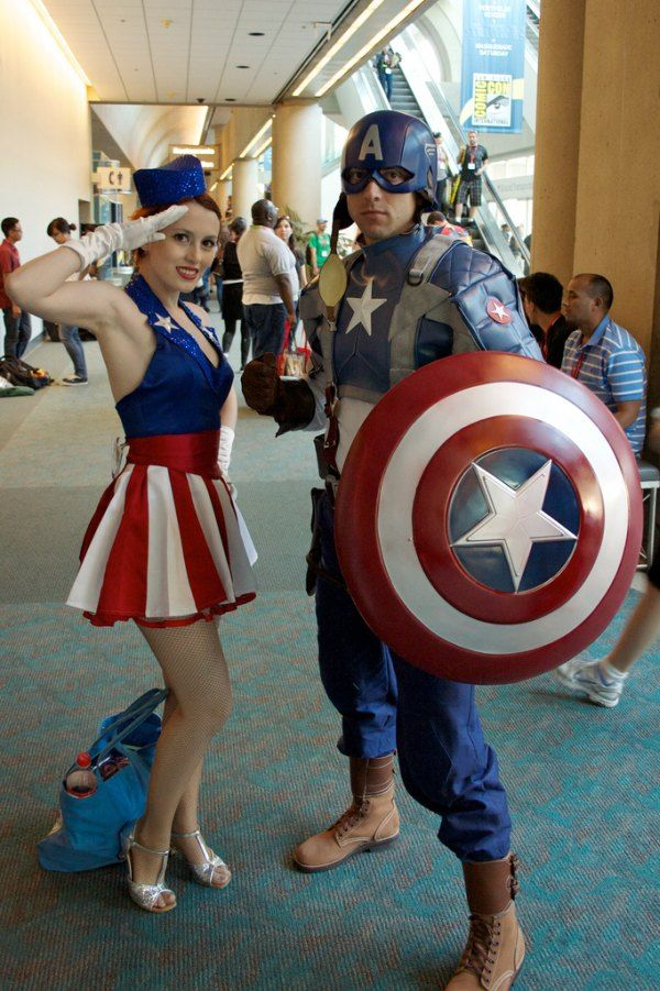 Super awesome cosplays! I really love how the girl's outfit stays very close to the time period where Captain America was first formed :)