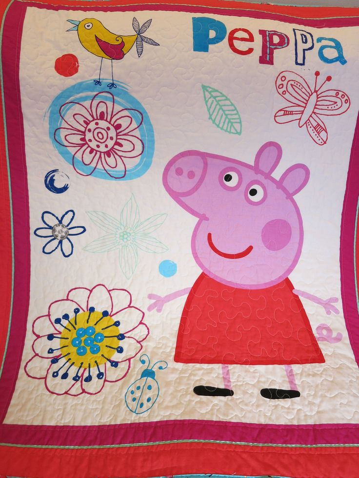 Peppa Pig Quilt, Peppa Pig Blanket, Wall Hanging, Lap Quilt, Girl Quilt, Baby Quilt, Child Quilt, Toddler blanket, gift for girl, handmade by Debsquiltsareloved on Etsy