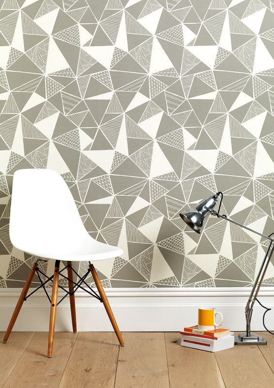 These Eastern inspired wallpapers feature bold hand-drawn geometrics with mid century modern flair.