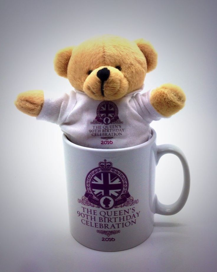 Personalised mug with commemorative bear for the Queen's 90th birthday tea party.
