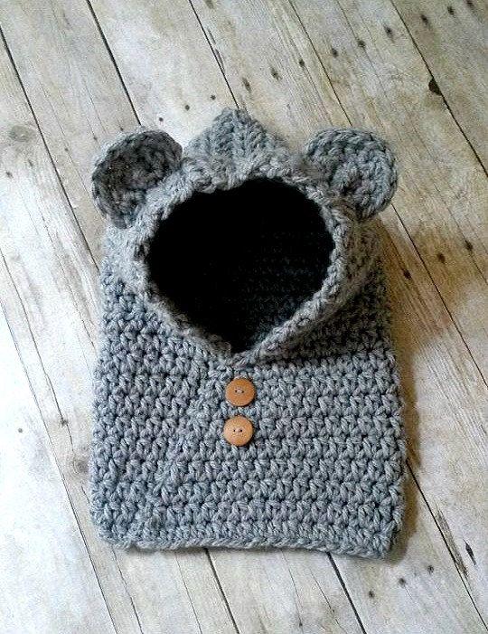 Uncinetto Bear Hooded cappuccio sciarpa di WhimsybooBoutique