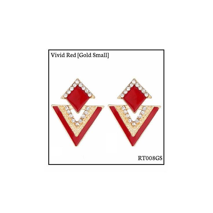 Ref: RT008GS Vivid Red [Gold Small] . Medidas: 2.5 cm x 2 cm . So Oh: 3.99 . Disponível para entrega imediata! Boas compras! #sooh_store #onlinestore #rhombus #trigonal #brincos #earrings #fashion