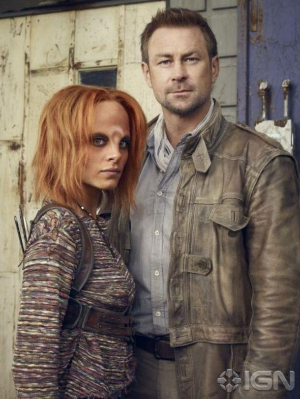 Irisa (Stephanie Leonidas) and her adoptive human father (Joshua) Grant Bowler - Defiance SyFy