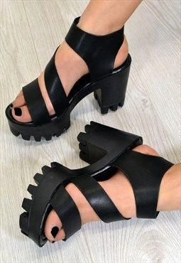 cbe1b1945ba ECHO Chunky Heel Wrap Strap Summer Sandals in BLACK  Blackhighheels ...