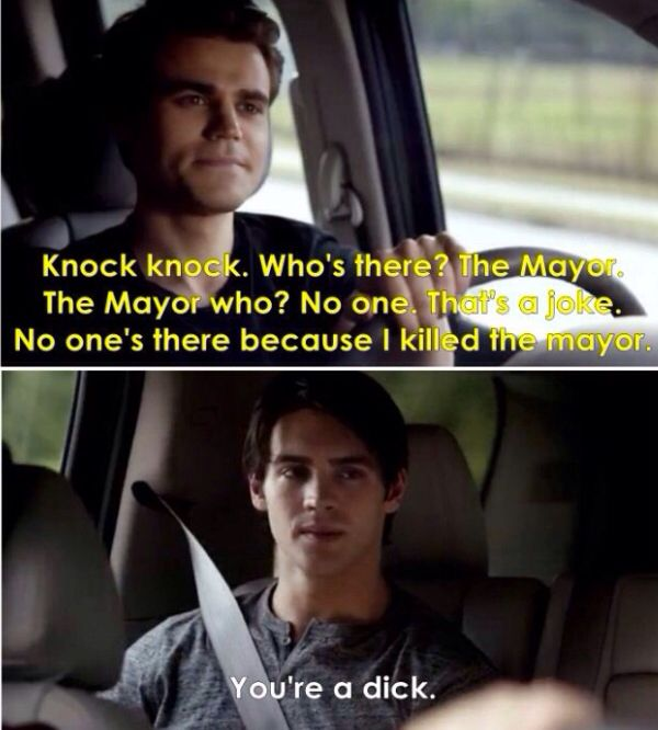 """HAHA :"""") This was actually so funny - Silas and his knock knock joke - The Vampire Diaries where'd the mayor go"""