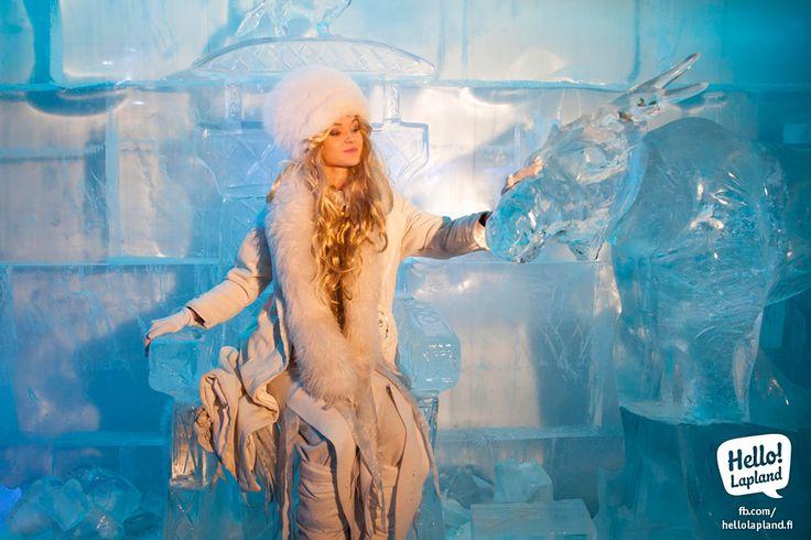 Ice princess in Santa Park underground cave in Rovaniemi.