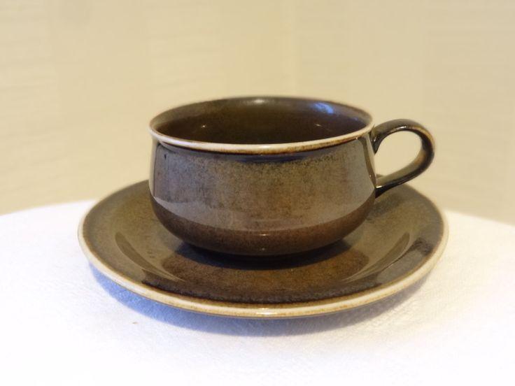 Atelje Arabia Finland Vintage Brown Ceramics Cup, Saucer Finnish design, Kitchen tableware by OlgaVintageStore on Etsy