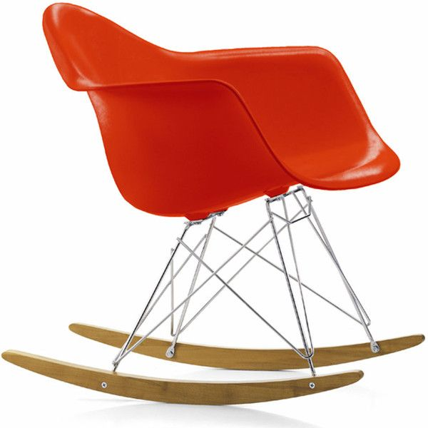 Charles & Ray Eames RAR Chair - Red (€510) ❤ liked on Polyvore featuring home, furniture, chairs, red, vitra chair, black white chair, vitra furniture, colored chairs and red furniture