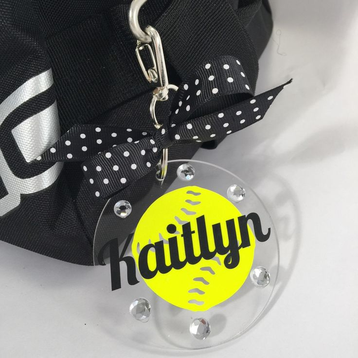 Softball Bag Tag in Neon Yellow, Gifts for Softball, Softball Coach Gifts, Fast Pitch Softball, Sports Decor, Personalized by GemLights on Etsy
