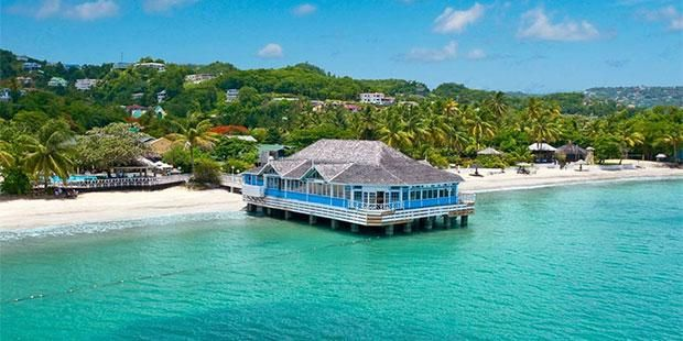 Sandals Halcyon Beach St Lucia All-Inclusive Resort | Cheap Caribbean Price- $4299 includes Caribbean Grande Luxe Walkout Room, Airfare from DTW, All Meals, Activities. +Includes scuba, 270 specialty boats, watersports lessons, paddleboards, water hammocks, wakeboards, sailing, kayaks, windsurfing, hobiecats, glassbottom boats, snorkeling, aquatrikes, tennis, shuffleboard, pingpong +Nightly entertainment, karaoke +169 Rooms on 22 acres +Afternoon tea +Quiet, intimate atmosphere