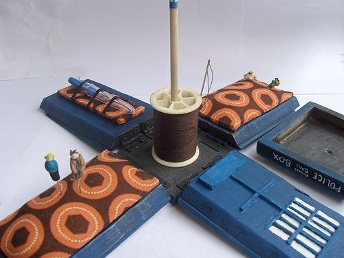 Here's a thing of beauty from Craftster member Joesuplicki. It's a wooden model of Doctor Who's TARDIS. Remove the top, and the walls open out on hinges to reveal a full complement of sewing suppli...