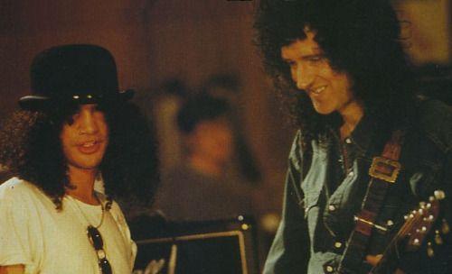 "davidrfuller: ""Brian & Slash, Freddie tribute rehearsals '92 """