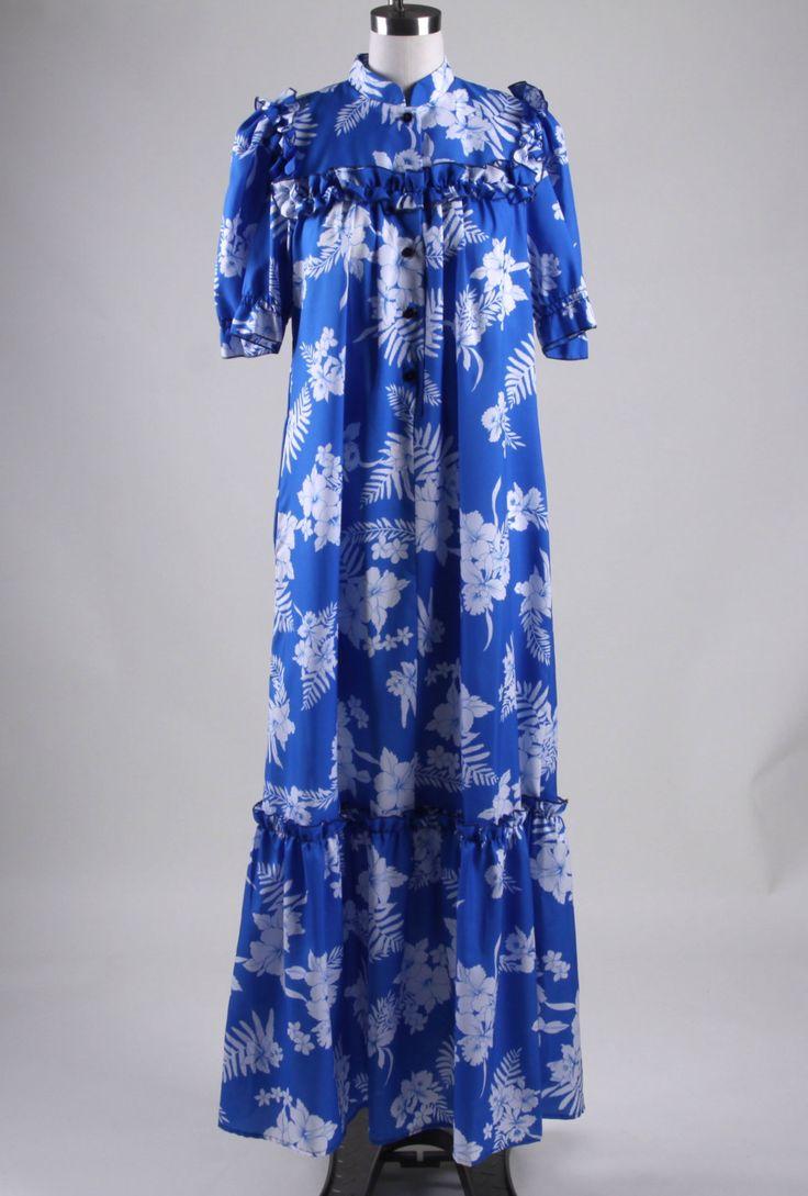 Vintage hawaiian muumuu luau party dress thin polyester for Hawaiian wedding dresses with sleeves