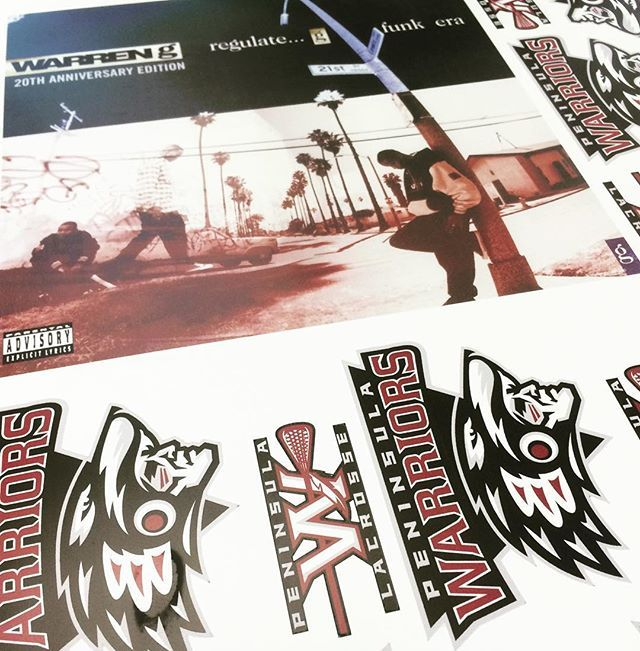Prints coming off the #roland #versacamm today! A little #LAX and a little #gfunkera album cover. #shoplocal #yyj #teamworks