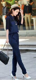 Large Size 3XL 4XL Summer Jumpsuits 2016 One Piece Pants Lapel Elegant Salopette Black Blue Long Trousers