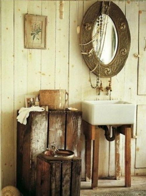 Rustikale Badezimmer Design Ideen Waschbecken Quadratisch