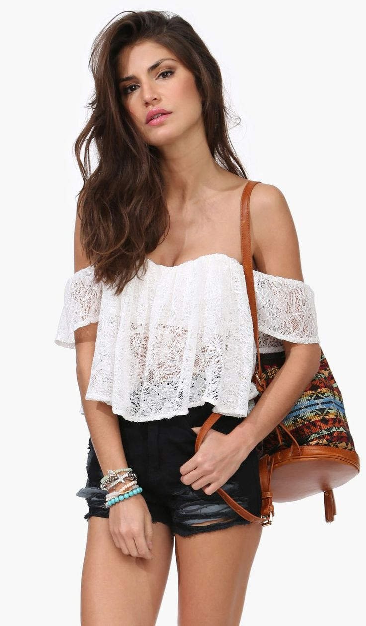 $37.99 Off The Shoulder Crop Top for that Summer Boho look! by Necessary Clothing