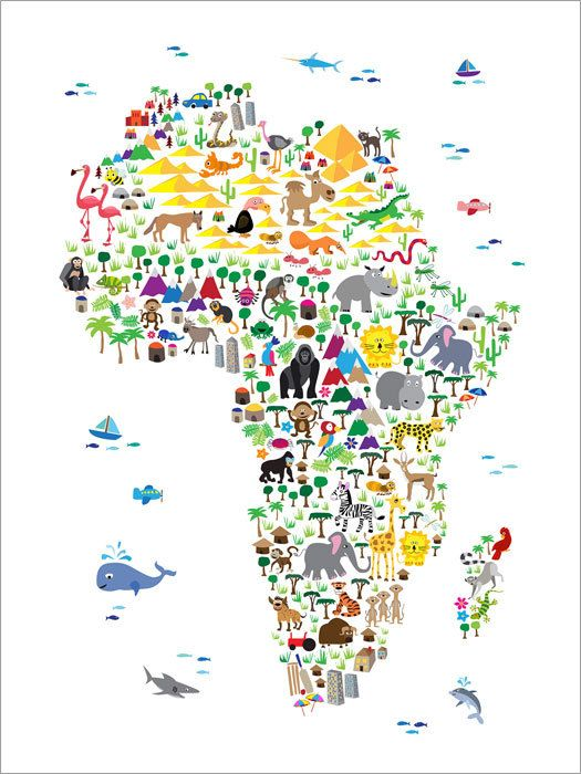 Animal Map of the Africa for children and kids  A map of the Africa featuring cartoon animals. A colorful, fun and exciting map for any young child to engage their imaginations. White background. Frame/Matte is not included. Available sizes are shown in the SELECT A SIZE drop down menu above the ADD TO CART button  Other background colors available - click below to see them: http://www.etsy.com/shop/artPause/search?search_query=animal  For BOX CANVAS and FRAMED PRINTS please contact me for…