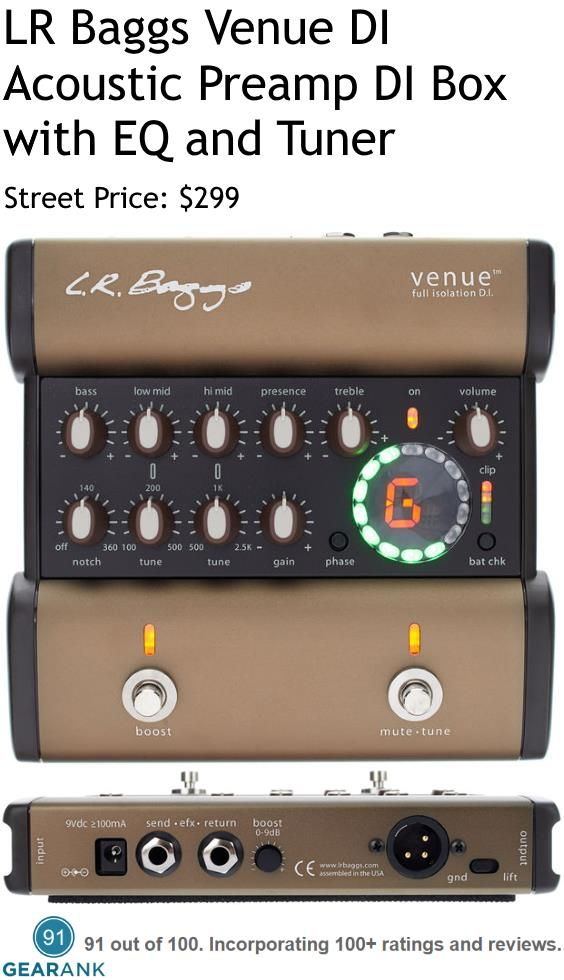 LR Baggs Venue DI Acoustic Preamp DI Box with EQ and Tuner Pedal. For a detailed guide to acoustic guitar preamps see https://www.gearank.com/guides/acoustic-preamps