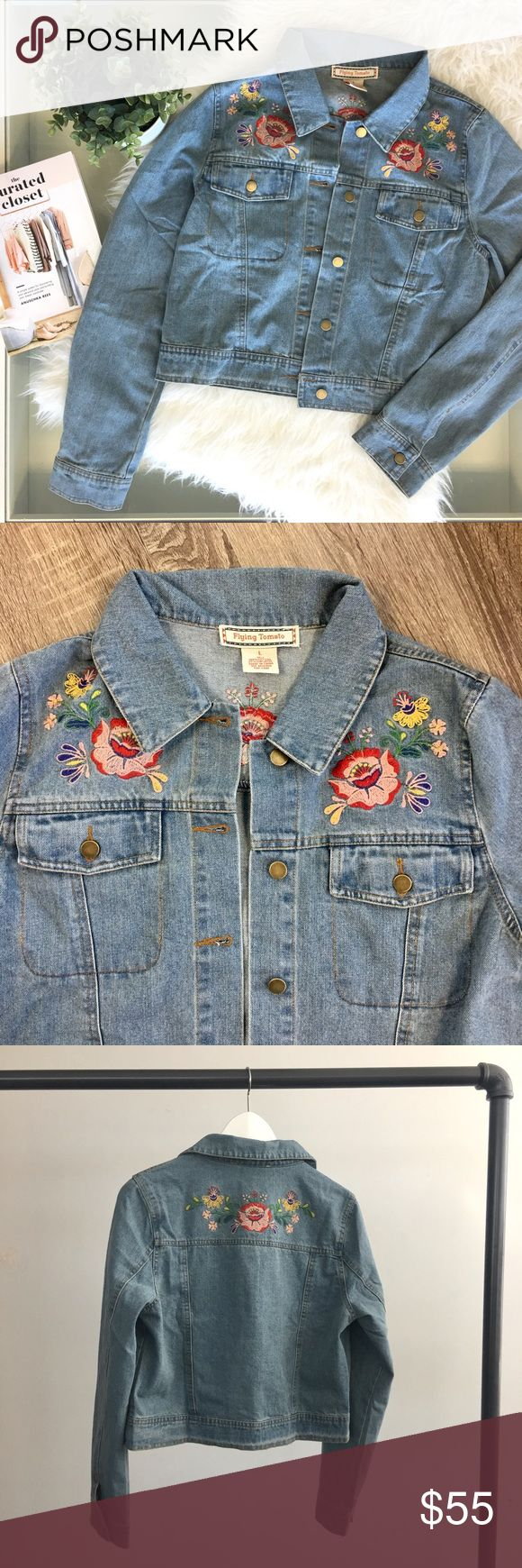 Floral Embroidered Denim Jacket Vintage-inspired Cropped denim jacket with embroidered floral patches. Medium wash. Brand new. Please carefully review each photo before purchase as they are the best descriptors of the item. My price is firm. No trades. First come, first served. Thank you! :) RGL Collection Jackets & Coats Jean Jackets