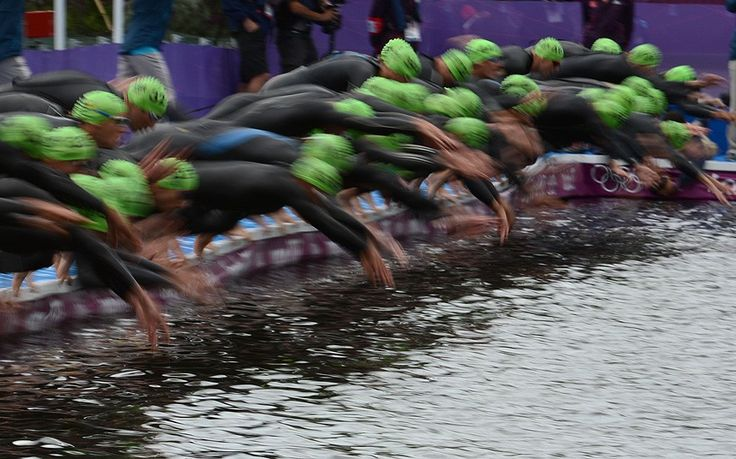 The start of the men's triathlon event at the London 2012 Olympic Games