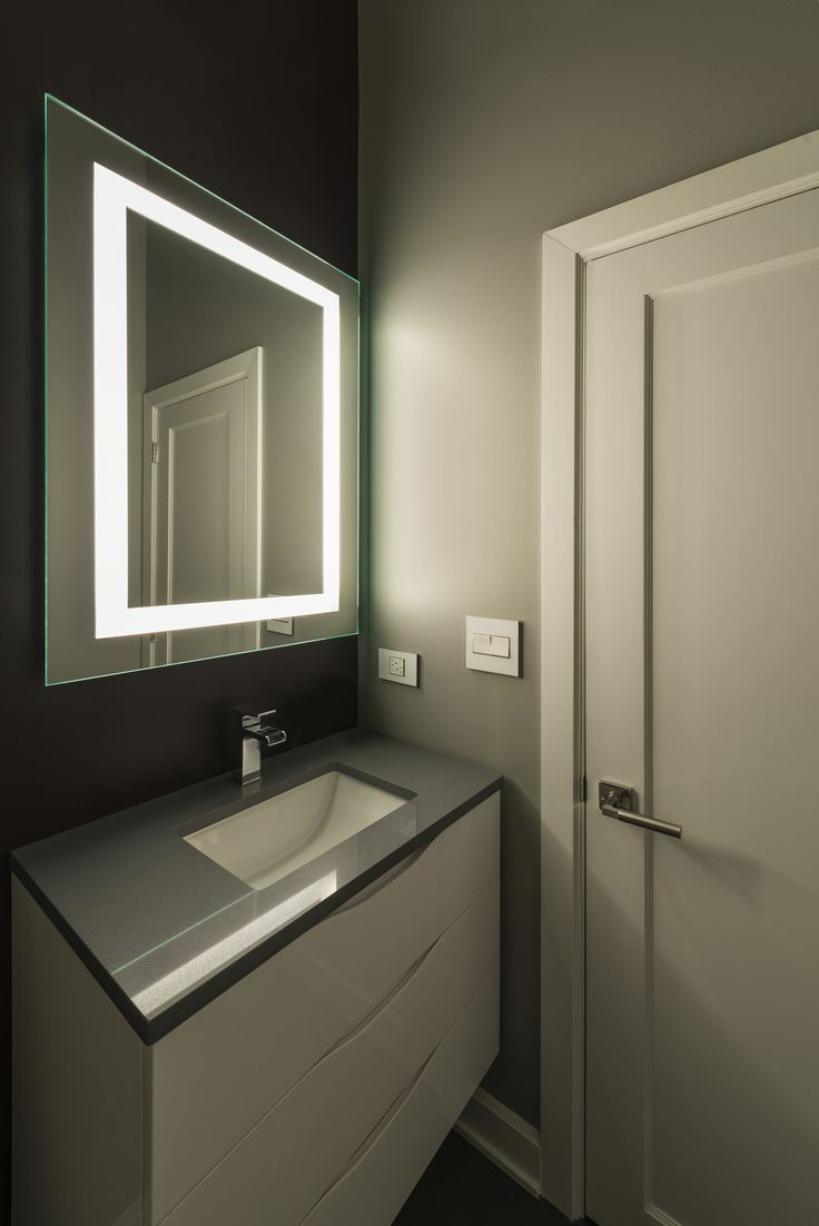 The Plaza Small Led Mirror Displays A Touch Of Modernized Decor While Providing Ideal Task Lighting