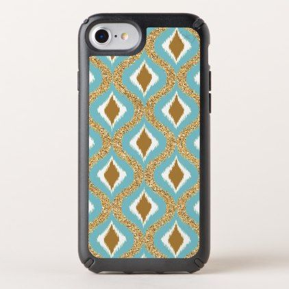 Turquoise Teal Brown Retro Chic Ikat Drops Pattern Speck iPhone Case - #chic gifts diy elegant gift ideas personalize