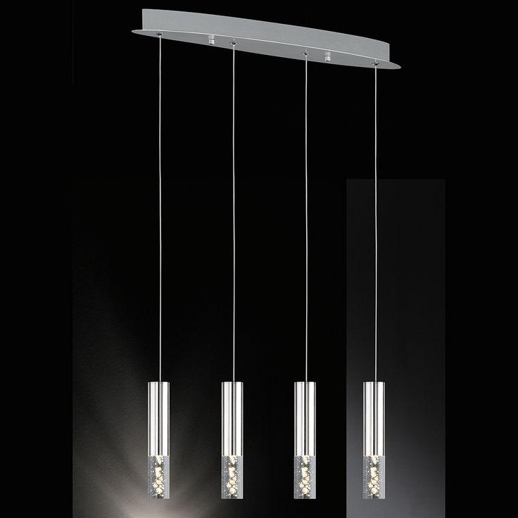 Pendelleuchte mit 4 länglichen LED-Gläser mit Bläschen