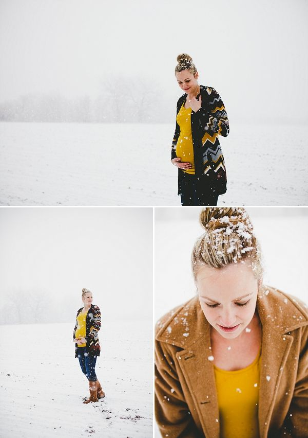 Maternity Photography ideas + inspiration from Colorado photographer Megan Valentine Photography + Common Couture Wardrobe Stylist Jill Carter on COUTUREcolorado Baby | baby blog for pregnant women + baby bellies with style | featuring an outdoor winter snowy maternity shoot | stylish mom in top knot + mustard tee + missoni cardigan + boots {more photos on blog}