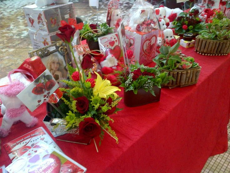 Valentine's Day table with all the different gifts - 2015.