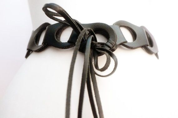 Vintage black leather panels holes fringe by VintageVanillaShop