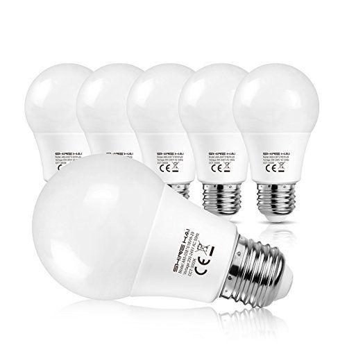 SHINE HAI Ampoule LED E27 A60 8W Equivalent à Ampoule Halogène/Incandescente 60W, Blanc Chaud 3000K, Lampe LED Sphérique, 800lm, Angle de…