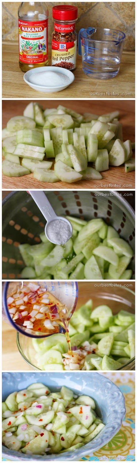 Sweet & Spicy Cucumbers Ingredients: 1-1/2 lbs cucumber (about 3 medium), peeled, halved lengthwise & thinly sliced 2 tsp kosher salt 1/2 c rice vinegar, seasoned or regular 1/2 c water 3 T…
